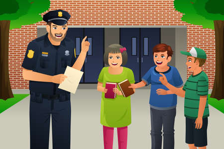 A vector illustration of policeman talking to kids Illustration
