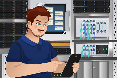 A vector illustration of man working in computer server room