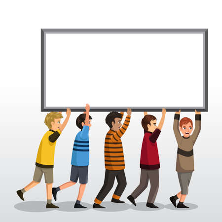 A vector illustration of kids holding a blank board