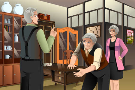 buying: A vector illustration of mature couple buying antique furniture at the furniture store Illustration