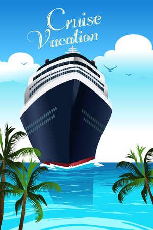Una illustrazione vettoriale di poster design vacanza in crociera con copyspace Vettoriali