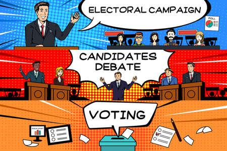 Een vectorillustratie van het ontwerp van de presidentiële verkiezingsbanner Stock Illustratie