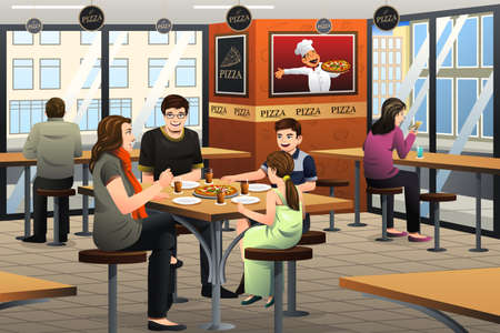 A vector illustration of happy family eating pizza together