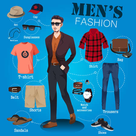 A vector illustration of men fashion infographic