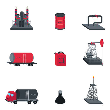 Een vector illustratie van de olie-industrie icoon sets Stock Illustratie