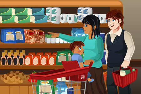 buying: A vector illustration of happy family doing grocery shopping together