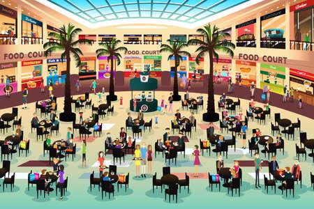 centro comercial: Una ilustración vectorial de gente comiendo en un patio de comidas en un centro comercial