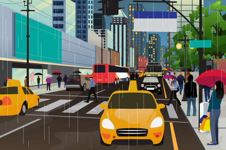 raining: A vector illustration of people walking in the rain in the city