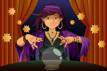 fortune: A vector illustration of fortune teller woman reading future on magical crystal ball