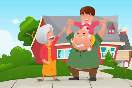A vector illustration of happy grandparents playing with their grandson Ilustração