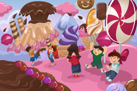 A vector illustration of happy kids playing in a dessert land