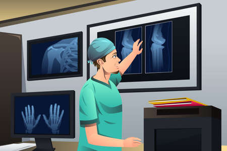 researcher: A vector illustration of doctor looking at x-ray on lightbox