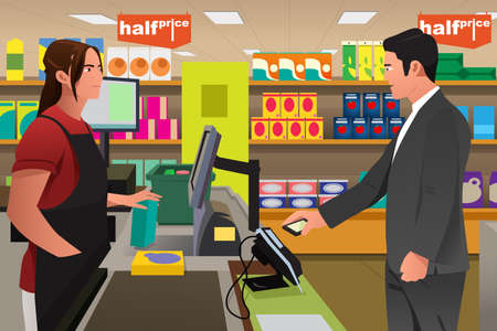A vector illustration of man paying the cashier at the grocery store using his phone