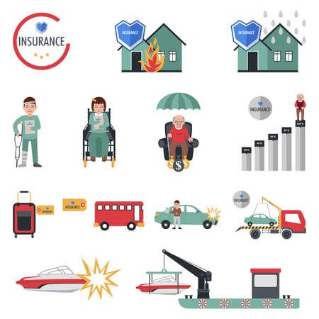 Een vector illustratie van de verzekering pictogrammensets