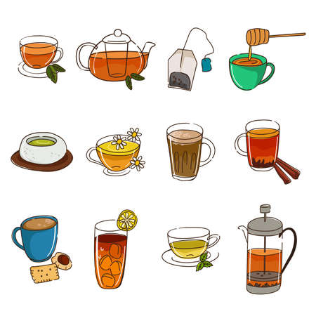 A vector illustration of tea icon sets Illustration