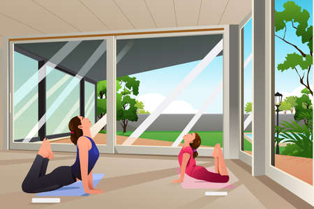 A vector illustration mother doing yoga together with her daughter at home Illustration