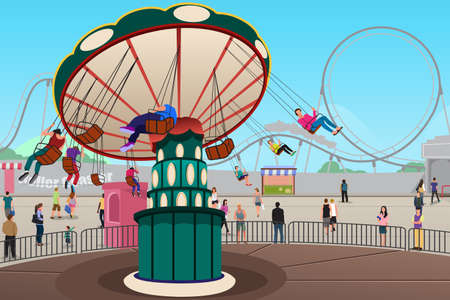 A vector illustration of people having fun in amusement park