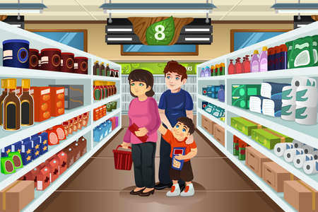 A vector illustration of happy family doing grocery shopping together