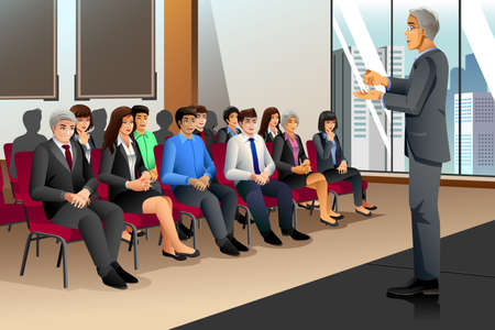 listener: A vector illustration of businesspeople attending seminar