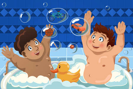 A vector illustration of kids having a bubble bath in the bathtub
