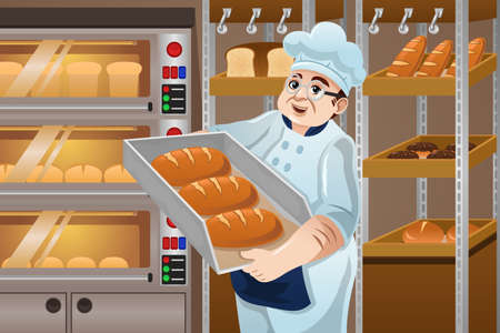 A vector illustration of happy baker holding breads in the kitchen Illustration