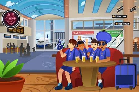soccer fans: A vector illustration of soccer fans traveling in the airport Illustration