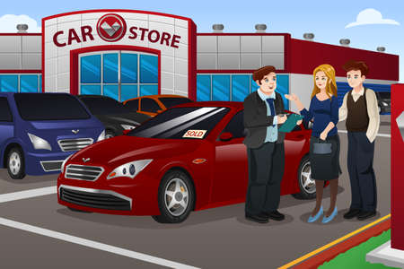 dealership: A vector illustration couple buying new car in the dealership