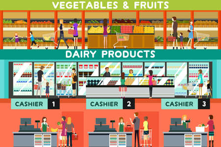 A vector illustration of people shopping in a grocery store