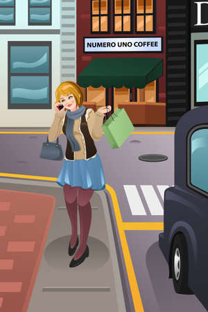 woman on phone: A vector illustration of modern woman talking on the phone while walking in the city Illustration