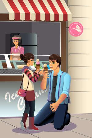 Una ilustración vectorial de padre que comen el helado juntos con su hija
