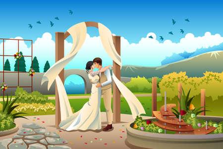 pareja de esposos: Una ilustración vectorial de una pareja romántica boda en una hermosa escena Vectores
