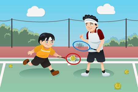 A vector illustration of father playing tennis with his son
