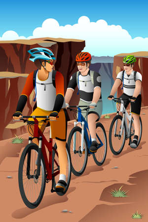biking: A vector illustration of mountain bikers in the mountain