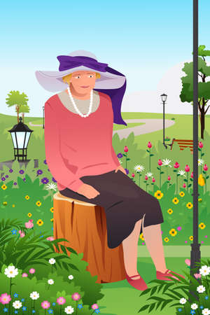 beautiful mature woman: A vector illustration of senior lady in a flower garden