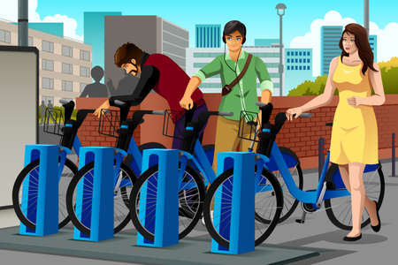 commute: A vector illustration of people renting a bike in the city