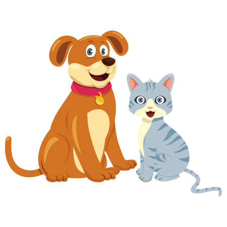 next to each other: A vector illustration of dog and cat sitting next to each other