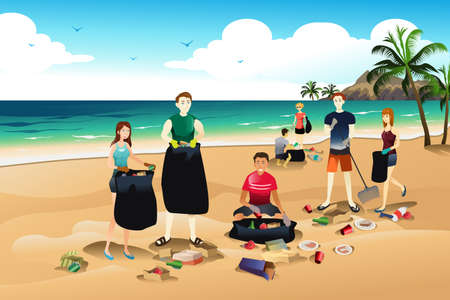 A vector illustration of volunteer cleaning up trash on the beach