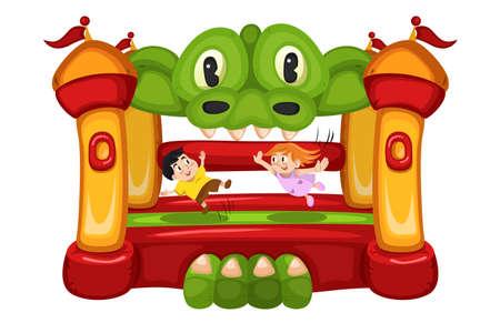 brincolin: Una ilustración vectorial de niños felices jugando en una casa hinchable Vectores