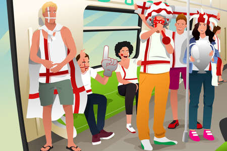 soccer fans: A vector illustration of soccer fans traveling by train