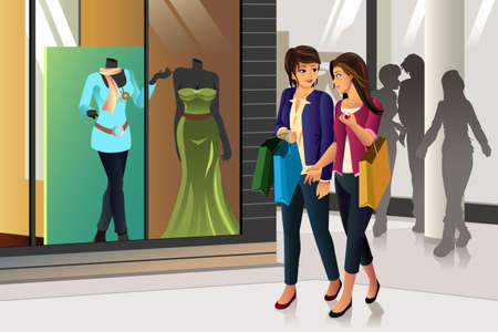 lady shopping: A vector illustration of women shopping together Illustration