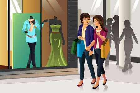 happy shopper: A vector illustration of women shopping together Illustration