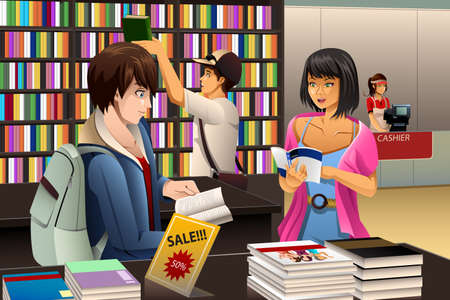 book shop: A vector illustration of people in a book store Illustration