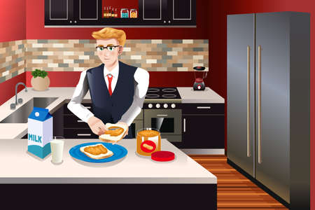 preparing food: A vector illustration of businessman making breakfast in the kitchen