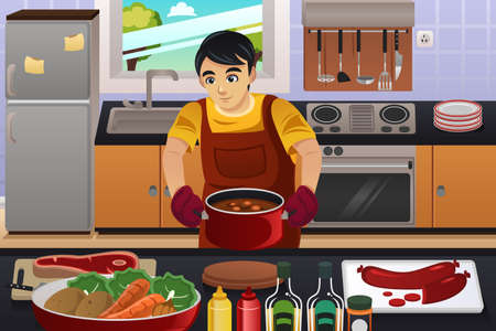 indoors: A vector illustration of happy man cooking in the kitchen