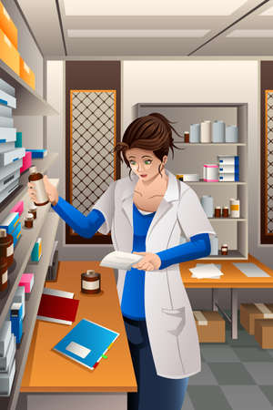 A vector illustration of pharmacist working in the pharmacy drugstore Illustration
