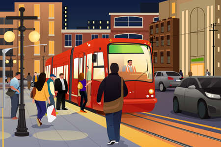 A vector illustration of people riding and boarding a street car