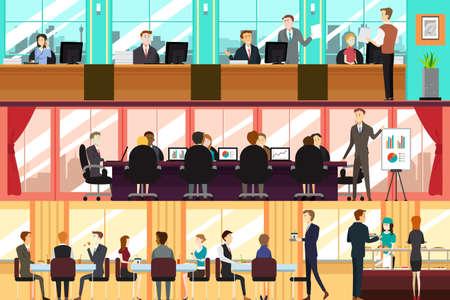 cartoon work: A vector illustration of businesspeople in an office
