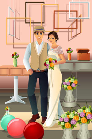romantic picture: A vector illustration of romantic wedding couple taking a picture Illustration