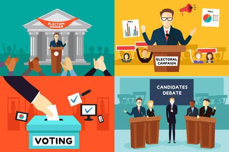 Een vector illustratie van de presidentsverkiezingen poster