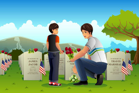 A vector illustration of father visiting cemetery with his son on Memorial day